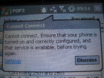 Cannot connect.  Ensure that your phone is turned on and correctly configured, and that service is available, before trying again